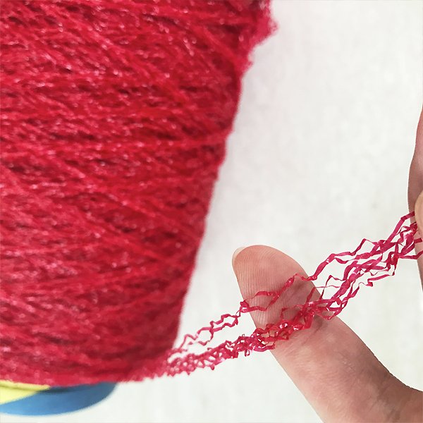 red color curly grass yarn